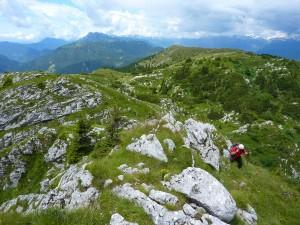 Na grebenu Ratitovca; pogled v smeri Soriške planine.