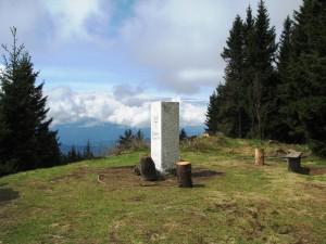 Mejni kamen na vrhu Košenjaka.
